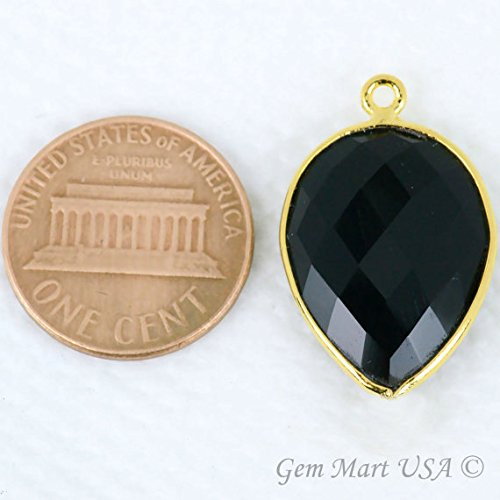 Black Onyx Bezel Connector, 15x20mm Pears Shape 24k Gold Plated Single Bail by GemMartUSA