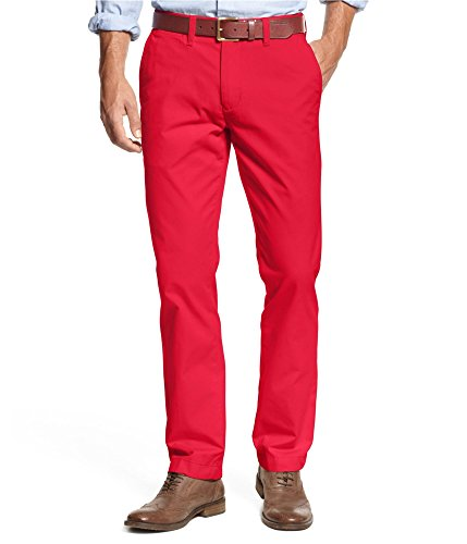 Tommy Hilfiger Mens Flat Front Pants (36x30, Red)