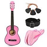 """NEW! 30"""" Pink Wood Guitar with Case and Accessories Great Gift for Kids/Girls / Beginners (Standard)"""