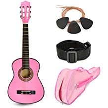 """NEW! 30"""" Pink Wood Guitar with Case and Accessories Great Gift for Kids / Girls / Beginners (Standard)"""