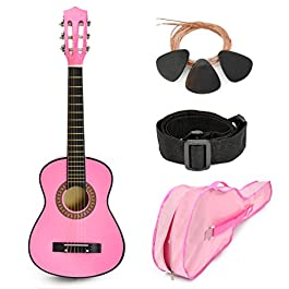 30″ Wood Guitar with Case and Accessories for Kids/Girls/Boys/Beginners (Pink)