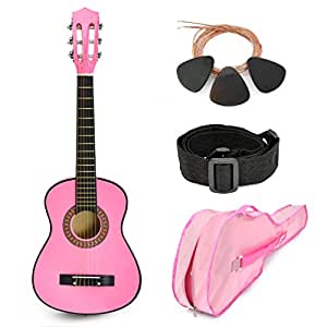 new 30 pink wood guitar with case and accessories great gift for kids girls. Black Bedroom Furniture Sets. Home Design Ideas