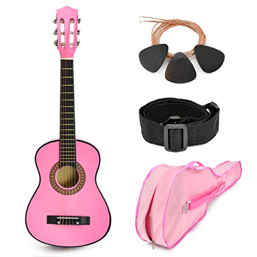"NEW! 30"" Pink Wood Guitar with Case and Accessories Great Gi"