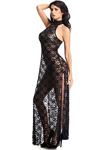 Amoretu Womens Floral Lace Lingerie Long Cheongsam Side Split Gown Black (Lace Long Gown Lingerie)