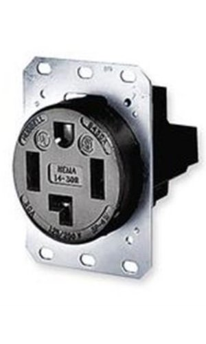 - Hubbell Wiring Systems HBL9430A Straight Blade Heavy Duty Specification Grade Single Flush Receptacle, 30 Amp, 125/250VAC, 3 Pole, 4 Wire, Black