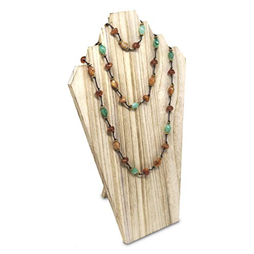 - MOOCA Lightweight Wooden Jewelry Display Bust with Easel for 3 Necklaces - Oak
