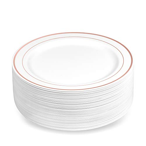 50 Plastic Disposable Dessert/Appetizer Plates | 7.5 inches White with Rose Gold Rim Real China Look | Ideal for Weddings, Parties, Catering | Heavy Duty & Non Toxic (50-Pack) by BloominGoods ()
