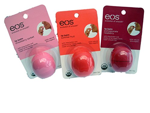Balm Lip Lip Locked - eos Spring and Summer Lip Balm Variety Pack Featuring A .25 Ounce Package of Each Strawberry Sorbet, Pomegranate Raspberry and Summer Fruit - Each 100% Natural