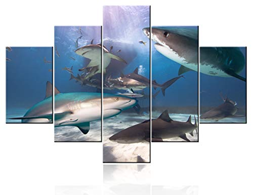 Artwork for Home Walls Shark Fish Pictures Undersea Paintings Multi Panels Printed on Canvas Sunlight Wall Art for Living Room Home Modern Decor Gallery-Wrapped Framed Ready to Hang(60''WX40''H)