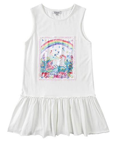 Liliane Girls Dresses Unicorn Dress for Girls White Summer Dresses for Girls A137-45Y -