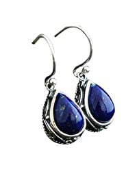 Jade Angel Vintage Thai Sterling Silver Natural Lapis Lazuli Drop Dangel Earrings