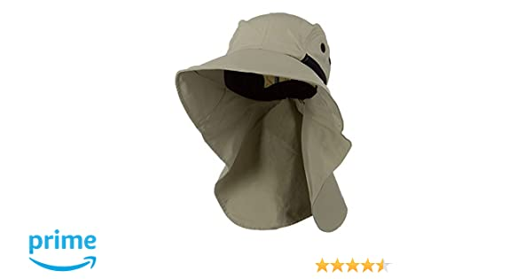 fcff78cf880 Juniper Men s Khaki Wide Brim Outdoor Sun Flap Hat at Amazon Men s Clothing  store