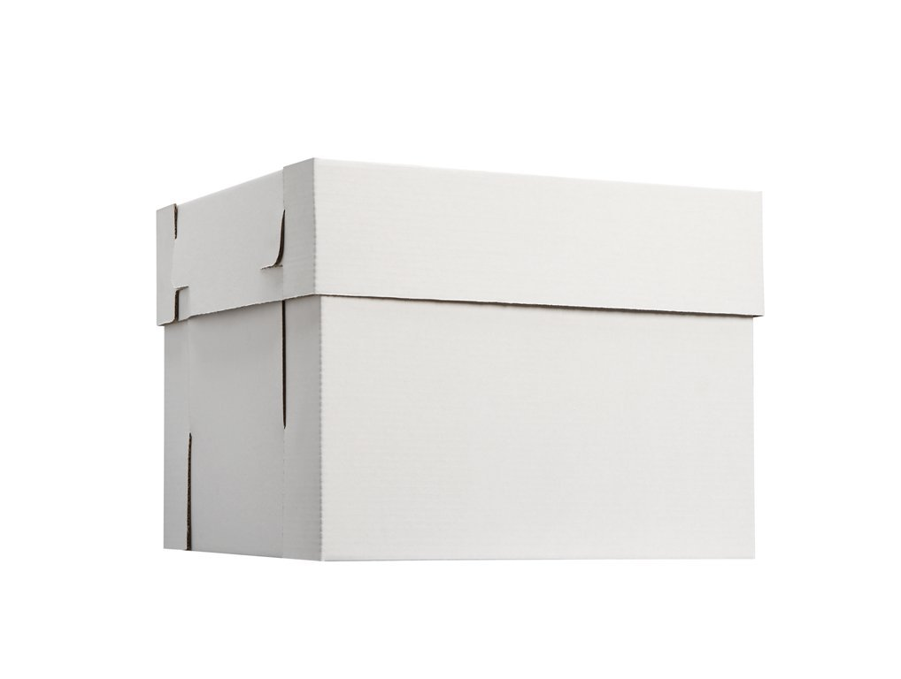 W PACKAGING WPCKB108 10x10x8 White/Kraft Plain 8'' Deep Cake Box W/Window, E-Flute (Pack of 25)