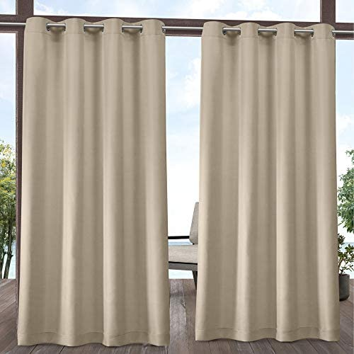 Exclusive Home Curtains Indoor/Outdoor Solid Cabana Grommet Top Curtain Panel Pair