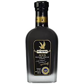 De Nigris Balsamic Vinegar, Aged, 8.5 oz 8 Ideal for Gourmet Dishes. ​Aging in oak barrels for three years enhances the aromas and flavors that mature in contact with the grape juice and wood with hints of spices and a final consistency ideal for giving value to natural food and quality.