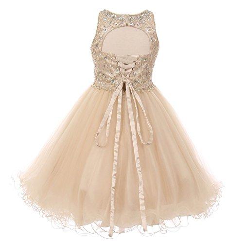 Cinderella Couture Big Girls Champagne Rhinestone Halter Neck Tulle Junior Bridesmaid Dress 12 from Cinderella Couture