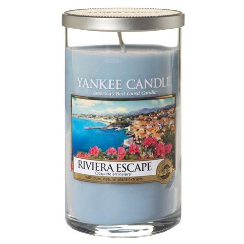 YANKEE CANDLE Pillar Candele Décor Riviera Escape, Vetro, Blu, 8.2 x 8 x 13.9 cm 1508623E