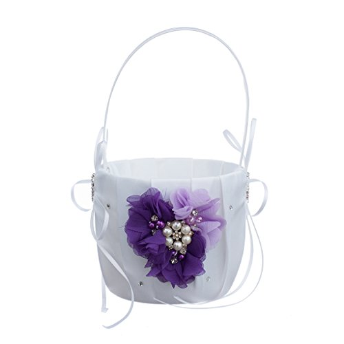 (MagiDeal Romantic Wedding Party Bowknot Faux Pearl Flower Girl Basket With Heart Shape Decor - Purple)