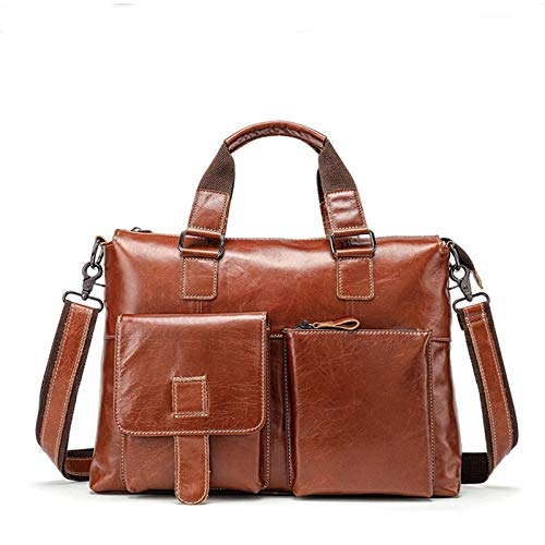 Color : Red-Brown LCLiang Mens Genuine Leather Bag Leisure Business Handbag Layer Cowhide Male Shoulder Bag Messenger Bag