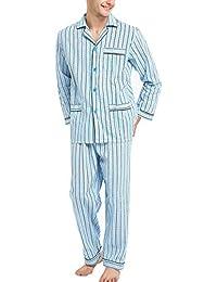Mens Pajamas Set, 100% Cotton Woven Drawstring Sleepwear Set with Top and Pants/Bottoms