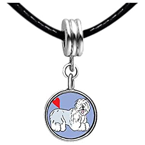 Chicforest Silver Plated Old English Sheepdog Animal Photo Topaz Crystal November Birthstone Flower dangle Charm Beads Fits Pandora Charms