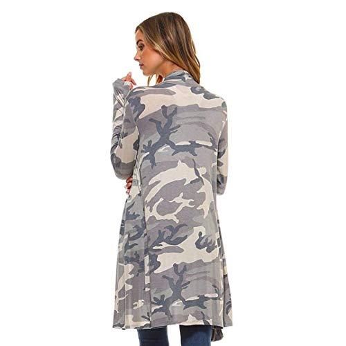 Outerwear Basicas De Otoño Outwear Cómodo Abrigo Sstampado Camuflaje Mujer Largos Parkas Grau Primavera Cardigan Anchas Manga Cómodo Larga Moda qEZxqwPXr