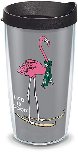 Tervis 1307437 Life Is Good-Flamingo Skiing Insulated Tumbler with Wrap and Black Lid, 16oz, Clear