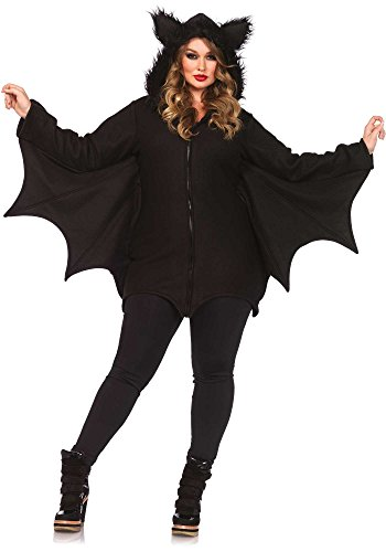 Leg Avenue Women's Plus-Size Cozy Bat Costume, Black, 3X (Womens Halloween Costumes Sale)