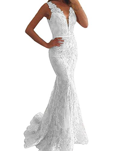 LastBridal Women Sexy Lace V Neck Mermaid Prom Evening Dresses Formal Party Gowns Long LB0044