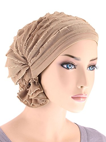 Abbey Cap Women's Chemo Hat Beanie Scarf Turban Headwear for Cancer Ruffle Beige (Ruffle Cap)