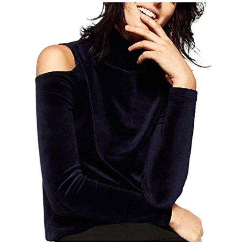 - Women Harajuku Velvet Off Shoulder Long Sleeve Turtleneck Shirts Navy Blue Size L