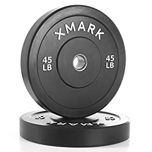 XMark Black Olympic Bumper Plates, Superb Quality, Heavy Duty Stainless Steel Inserts, Built Tough, XMark Tough, XM 3385 (Available in Pairs)