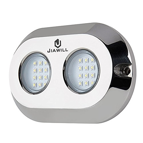 Jiawill 120W CREE LED Surface Mount Underwater Boat Lights 316L Stainless Steel with Internal Driver,Overheat Protection,White,Blue,Green,Red (Red)