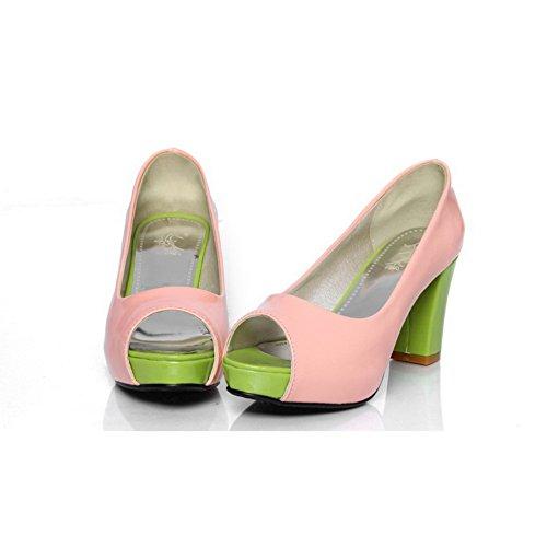 Amoonyfashion Donna Open Peep Toe Tacco Alto Platform In Vernice Massiccia Pu Pompe Con Colori Assortiti, Rosa, 6,5 B (m) Us