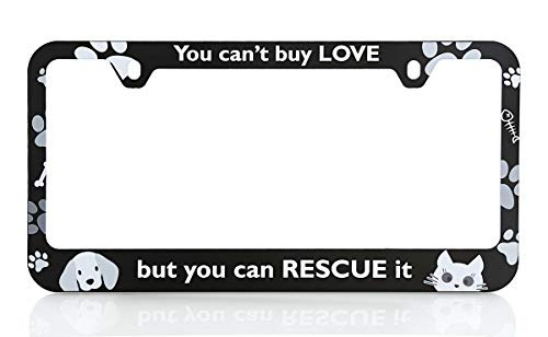 Baron-Jewelry Adorable Dog & cat Rescue License Frame. UV Printed Plastic Unique Design. Standard US & Canada Size. (White) (Black)