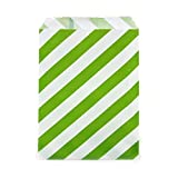 popcorn bags green - Dress My Cupcake 24-Pack Party Favor Bags, Striped, Kiwi Green