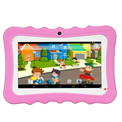 WO-WA 7 Inch Kids Tablet Android Dual Camera WiFi Education Game Gift for Boys Girls Learning Machine Music Gift for Children Student (Pink US PIug): Toys & Games