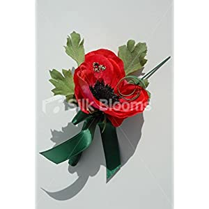Single Red Anemone Poppy Buttonhole with Green Ribbon & Crystals 78