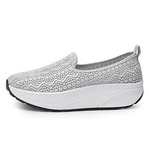 FangYOU1314 Malla de Mujer Zapatos Perezosos de Encaje Transpirable Aumento de Zapatos con Zapatos Casuales (Color : Rosado, tamaño : 40 EU) Gris