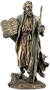 - 9.75 Inch Moses Holding The 10 Commandments Cold Cast Bronze Figurine