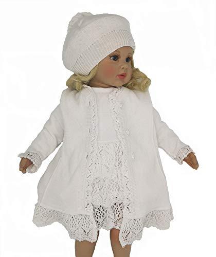 Six for Kids Jurk met mantel, voor doop, meisjes, ceremonie, 3-delige set, wit