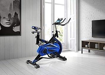 ECO-DE Bicicleta Spinning Shark. Uso semiprofesional con pulsómetro, Pantalla LCD y Resistencia Variable. Estabilizadores. Completamente ...