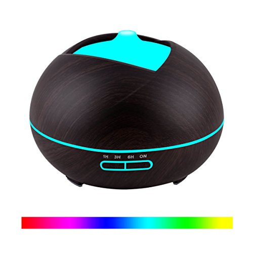 411Uvl7VyfL Essential Oil Diffuser Humidifier Vaporizer - Aromatherapy Ultrasonic Cool Mist Air 7 Color Night Light Personal Aroma Diffuser for Office Home Bedroom Yoga Spa Baby Room Wood Grain