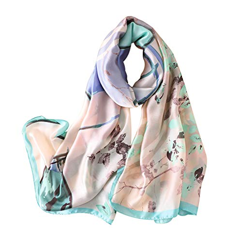 RingBuu Sun Shawl - 180x90cm Women Imitated Faux Silk Beach Shawl Multifunction Colored Oil Painting Branch Leaf Printed Scarf Summer Blanket Wrap Skirt 2 Colors (Sweatshirt Glamour Vintage)