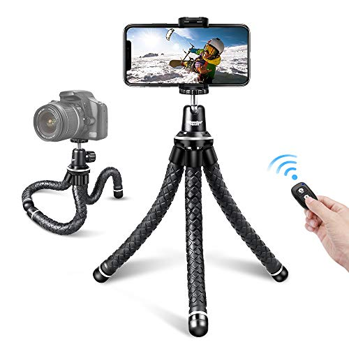 UBeesize Flexible Cell Phone Tripod, Mini Travel Tripod Stand with Wireless Remote Shutter, Universal Adapter Compatible with iPhone, Android, GoPro, DSLR, Action Camera.