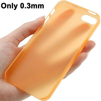 Mxnet 0.3mm Materiales de policarbonato ultra finos Shell de protección para PC para iPhone 5 & 5s & SE Fundas ( Color : Red ) Orange