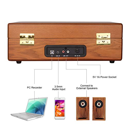 JORLAI Vinyl Record Player, 3 Speed Suitcase Turntable with Built-in Speakers, PC Recorder, Headphone Jack, RCA line Out - Wood … by JORLAI (Image #5)