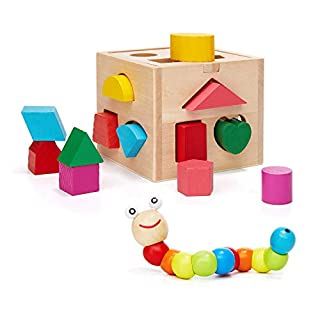 Wooden Shapes Sorter Toddler Toys & Wood Caterpillar Toy - Baby Shape Cube with 13 Color Blocks Kids Puzzle Game Preschool Learning Toys for Boys Girls 2 3 4 5 Years Old