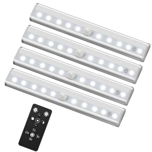 SZOKLED Wireless LED Under Cabinet Kitchen Lighting 4 Pack with Remote Control Battery Powered Cupboard Light, Night Light, Dimmable Closet Lights Bar, Stick On Safe Lights, Under Counter Light, White