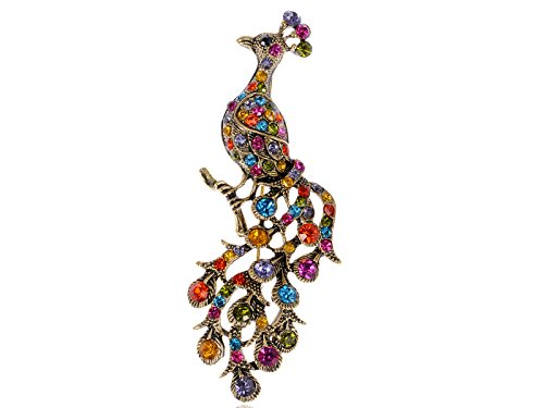 Alilang Gold Tone Rainbow Crystal Rhinestone Perched Peacock Tree Branch Bird Animal Brooch Pin